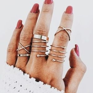 Jewelry - 5 for $25 Set of 6 Midi Knuckle Rings